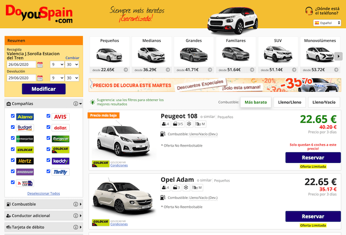 Alquiler vehículo DoYouSpain
