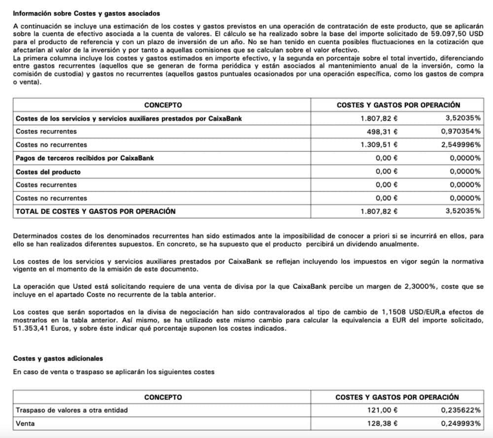 Costes compra acciones USD en BrokerNow